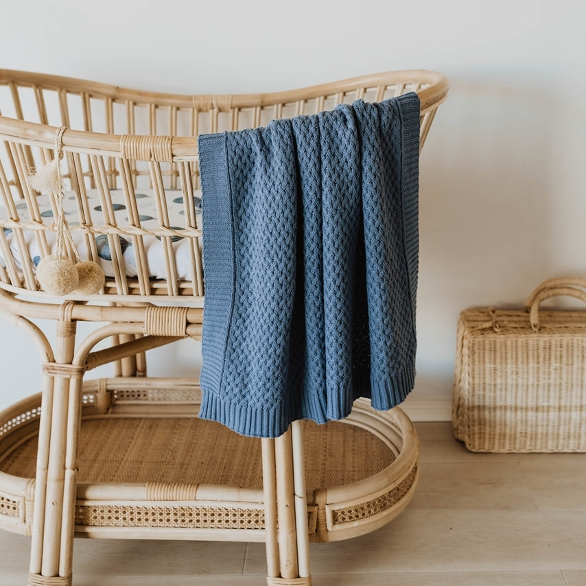 knitted baby blanket | diamond knit | river blue - MUMMA + BUBBA COLLECTIVE