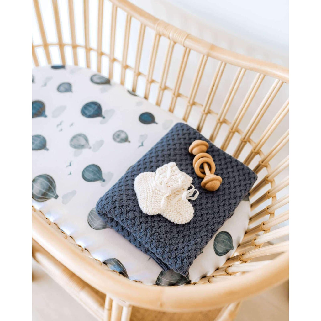 knitted baby blanket | diamond knit | river blue