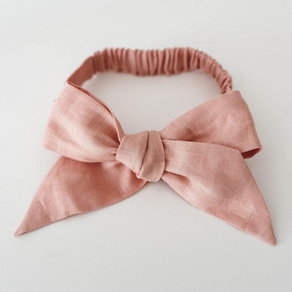 baby linen bow headband wrap | nude - Mumma + Bubba Collective.