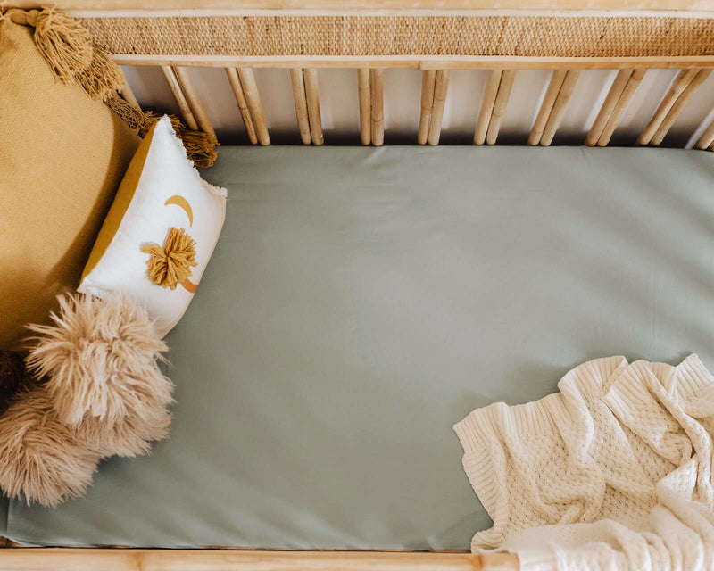 fitted cot sheet | sage - MUMMA + BUBBA COLLECTIVE