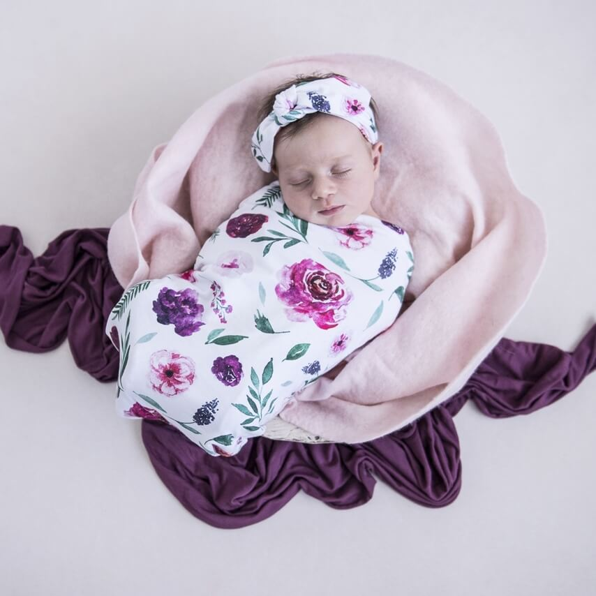baby snuggle swaddle + top knot headband set | peony bloom - MUMMA + BUBBA COLLECTIVE