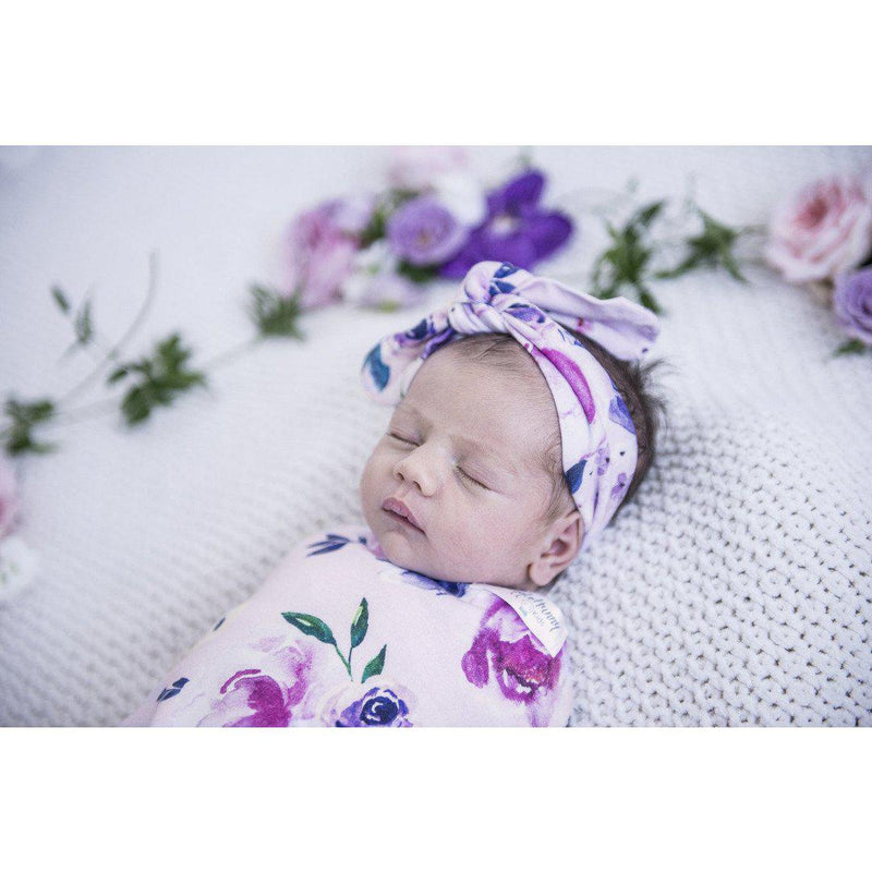 baby snuggle swaddle + top knot headband set | floral kiss - Mumma + Bubba Collective.