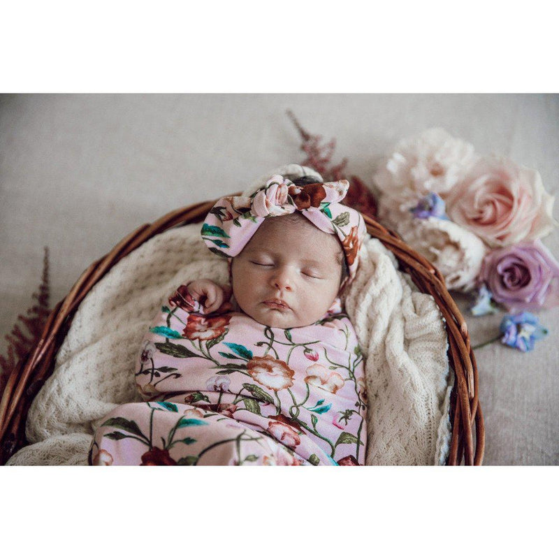 baby snuggle swaddle + top knot headband set | pansy heart - MUMMA + BUBBA COLLECTIVE