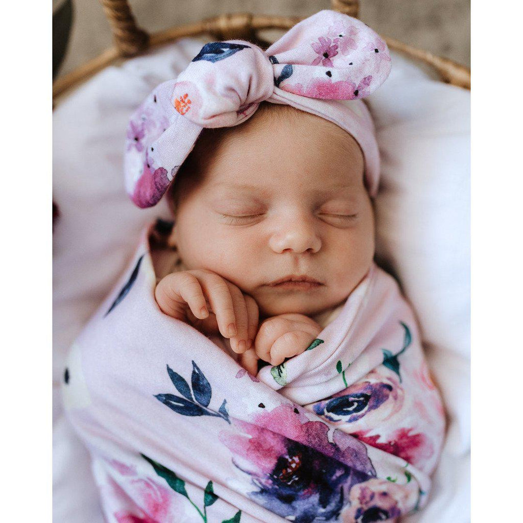 baby jersey wrap + top knot set | floral kiss - MUMMA + BUBBA COLLECTIVE