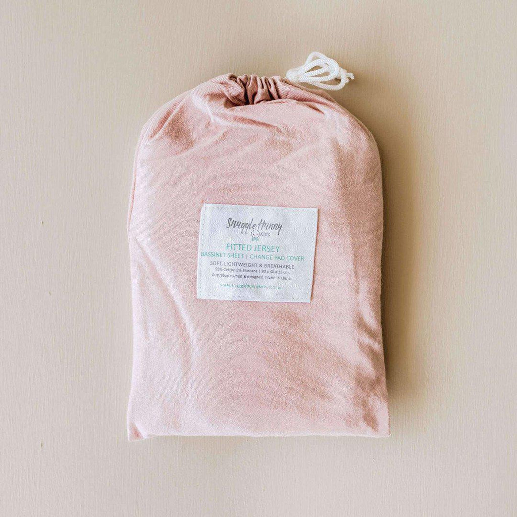 fitted bassinet sheet + change pad cover | lullaby pink - Mumma + Bubba Collective.