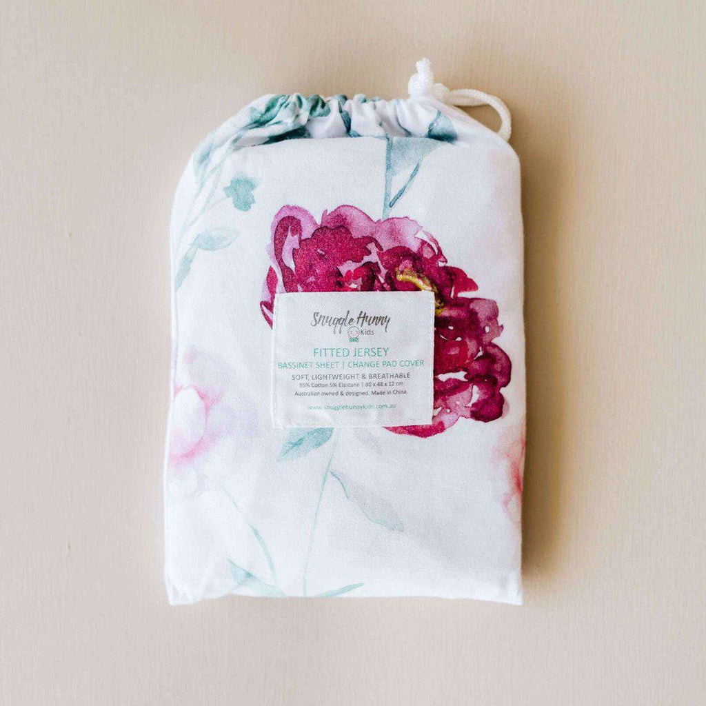 fitted bassinet sheet + change pad cover | wanderlust floral - Mumma + Bubba Collective.