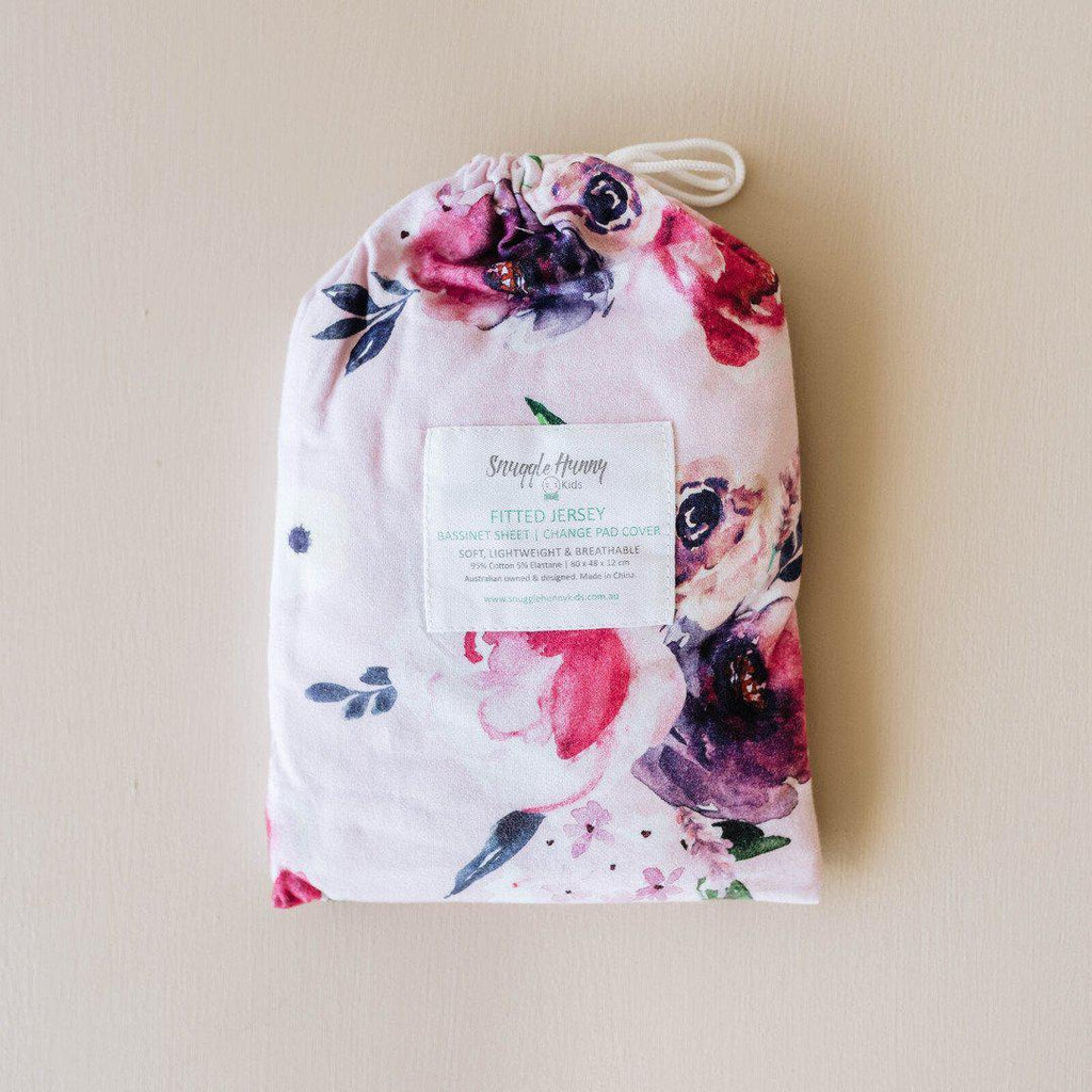 fitted bassinet sheet + change pad cover | floral kiss - Mumma + Bubba Collective.