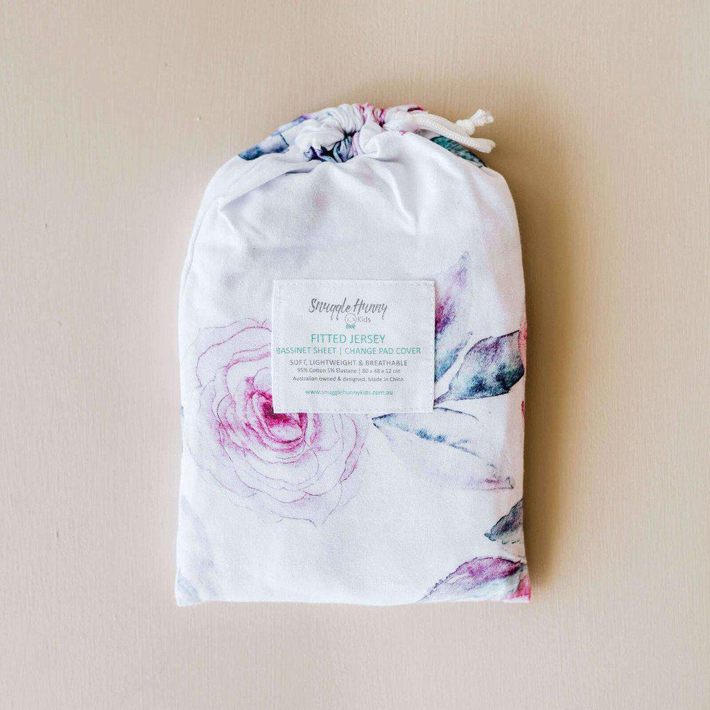 fitted bassinet sheet + change pad cover | lilac skies - Mumma + Bubba Collective.