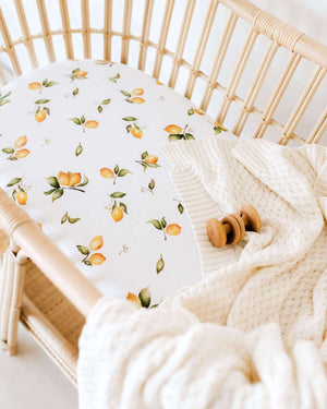fitted bassinet sheet + change pad cover | lemon - MUMMA + BUBBA COLLECTIVE