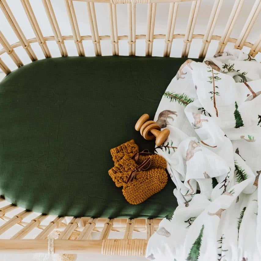 fitted bassinet sheet + change pad cover | olive green - Mumma + Bubba Collective.
