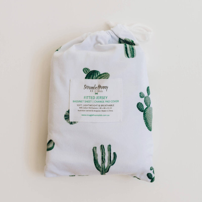 fitted bassinet sheet + change pad cover | cactus - MUMMA + BUBBA COLLECTIVE