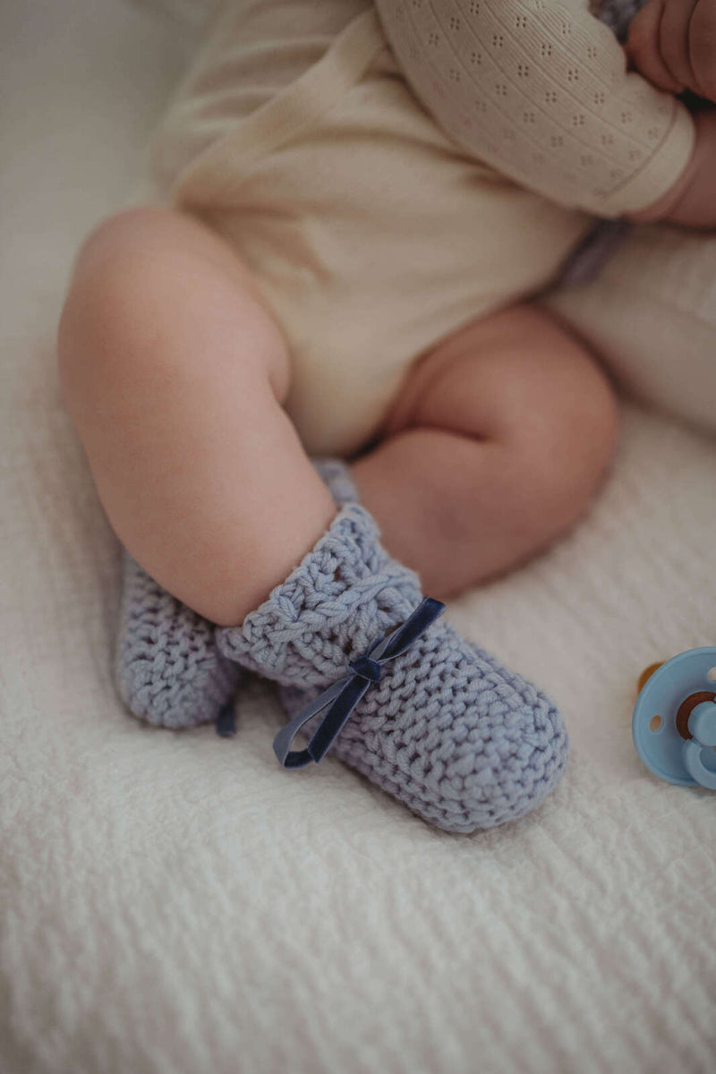 baby bonnet + booties | merino wool | blue - MUMMA + BUBBA COLLECTIVE