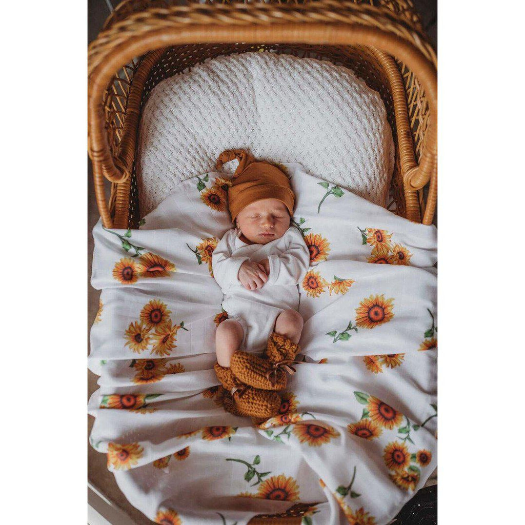 baby organic muslin wrap | sunflower print - MUMMA + BUBBA COLLECTIVE
