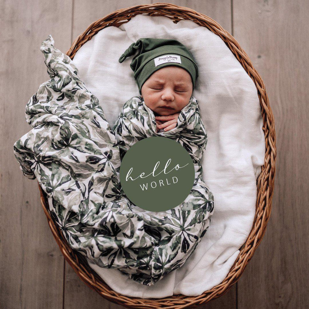 baby organic muslin wrap | evergreen print - MUMMA + BUBBA COLLECTIVE
