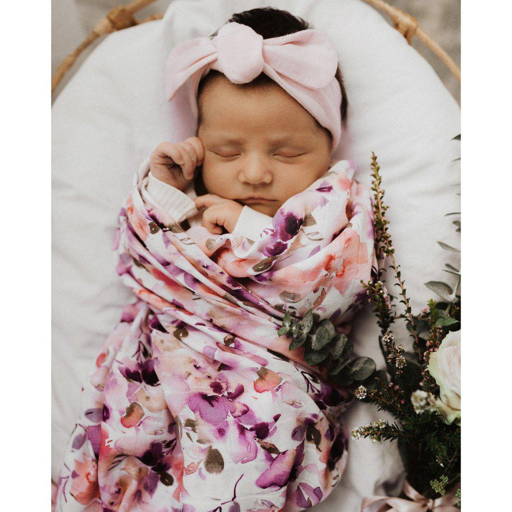 baby organic muslin wrap | blushing beauty print - MUMMA + BUBBA COLLECTIVE