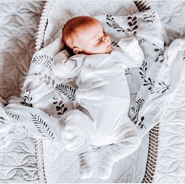 baby organic muslin wrap | warm grey wild fern - MUMMA + BUBBA COLLECTIVE