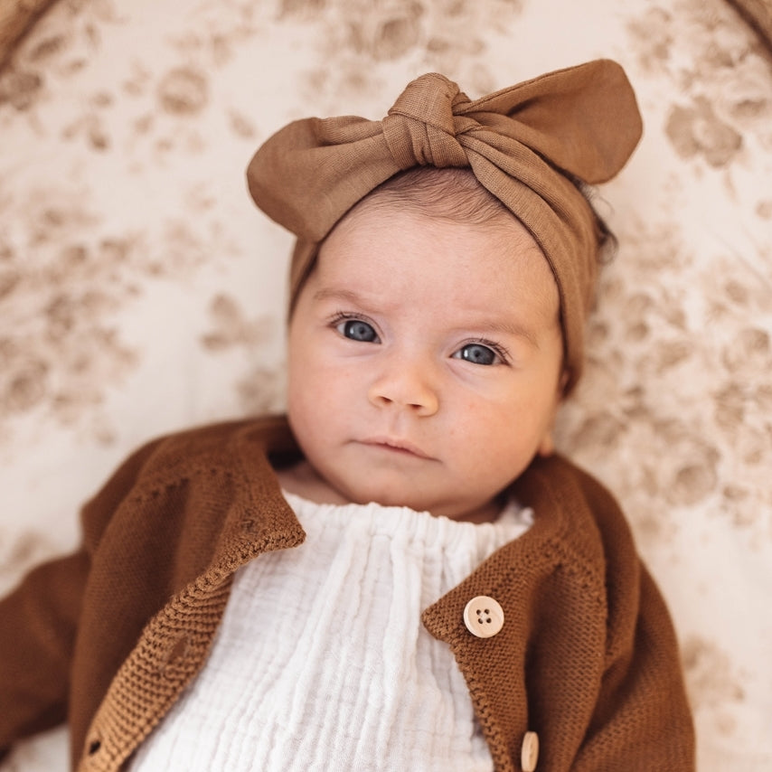 baby top knot headband | caramel - Mumma + Bubba Collective.
