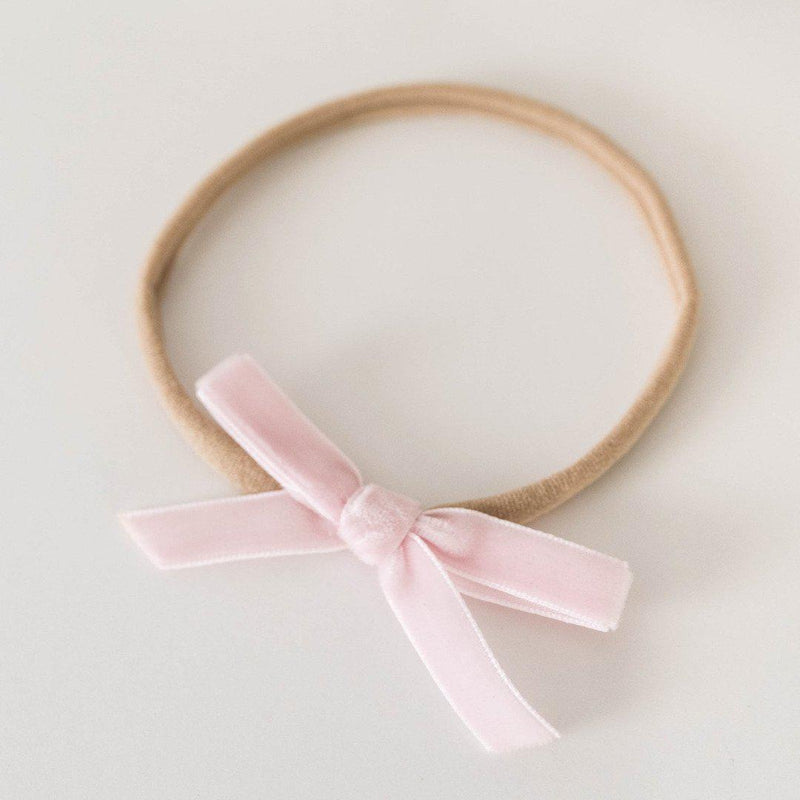 baby headband | velvet bow | light pink - Mumma + Bubba Collective.