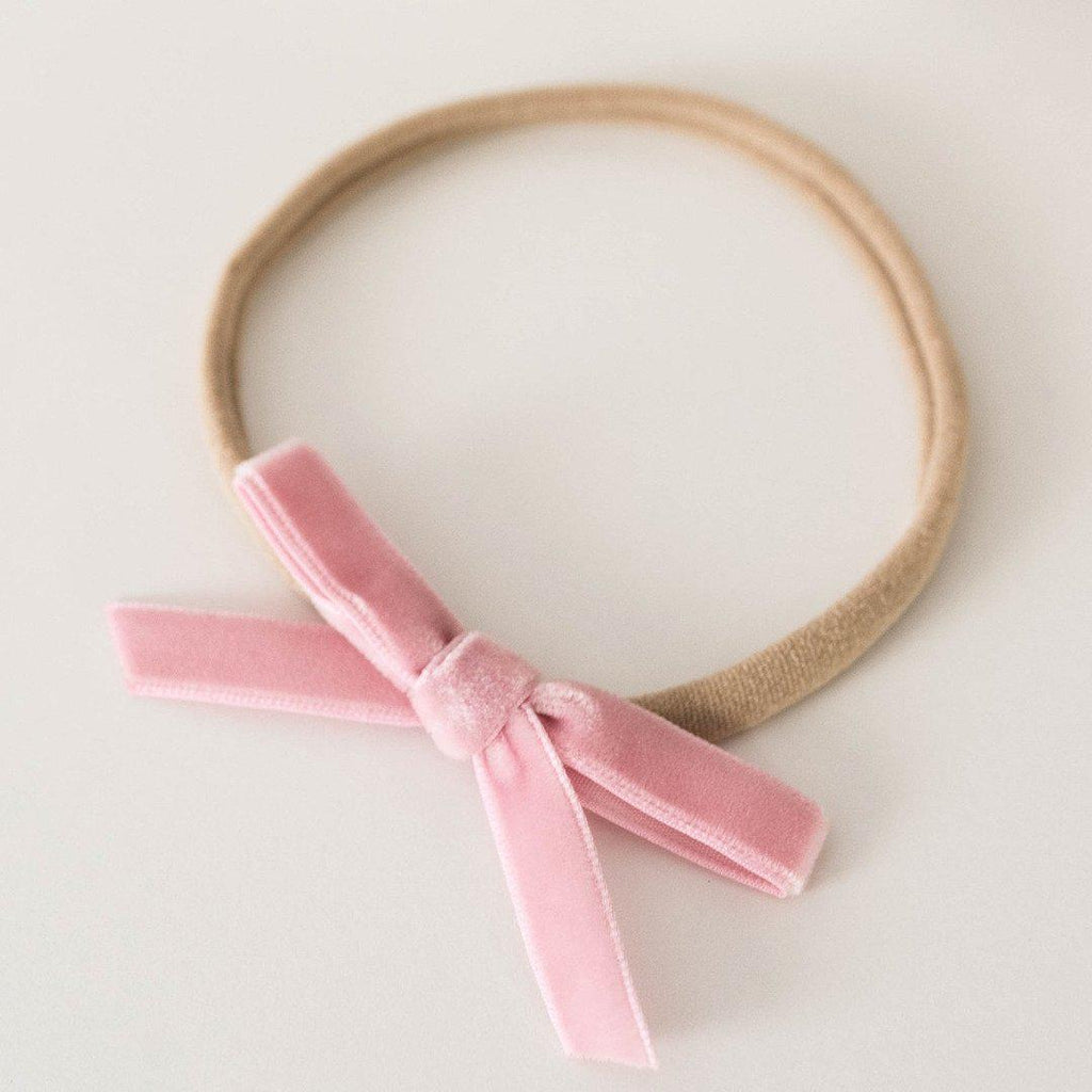baby headband | velvet bow | rose pink - Mumma + Bubba Collective.