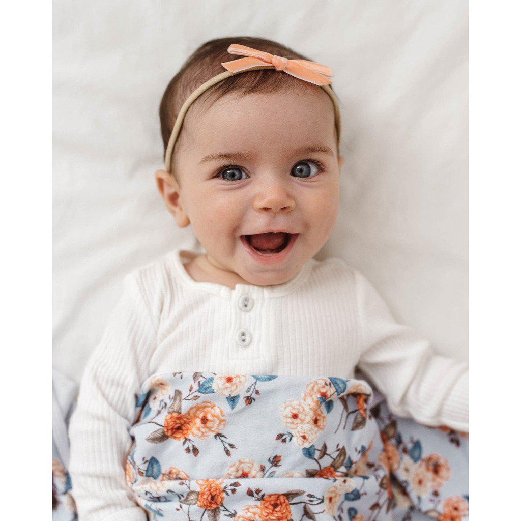 baby headband | velvet bow | coral - Mumma + Bubba Collective.