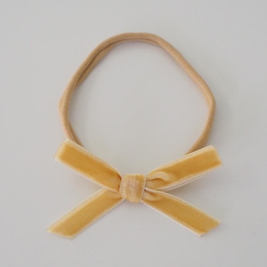 baby headband | velvet bow | gold - Mumma + Bubba Collective.
