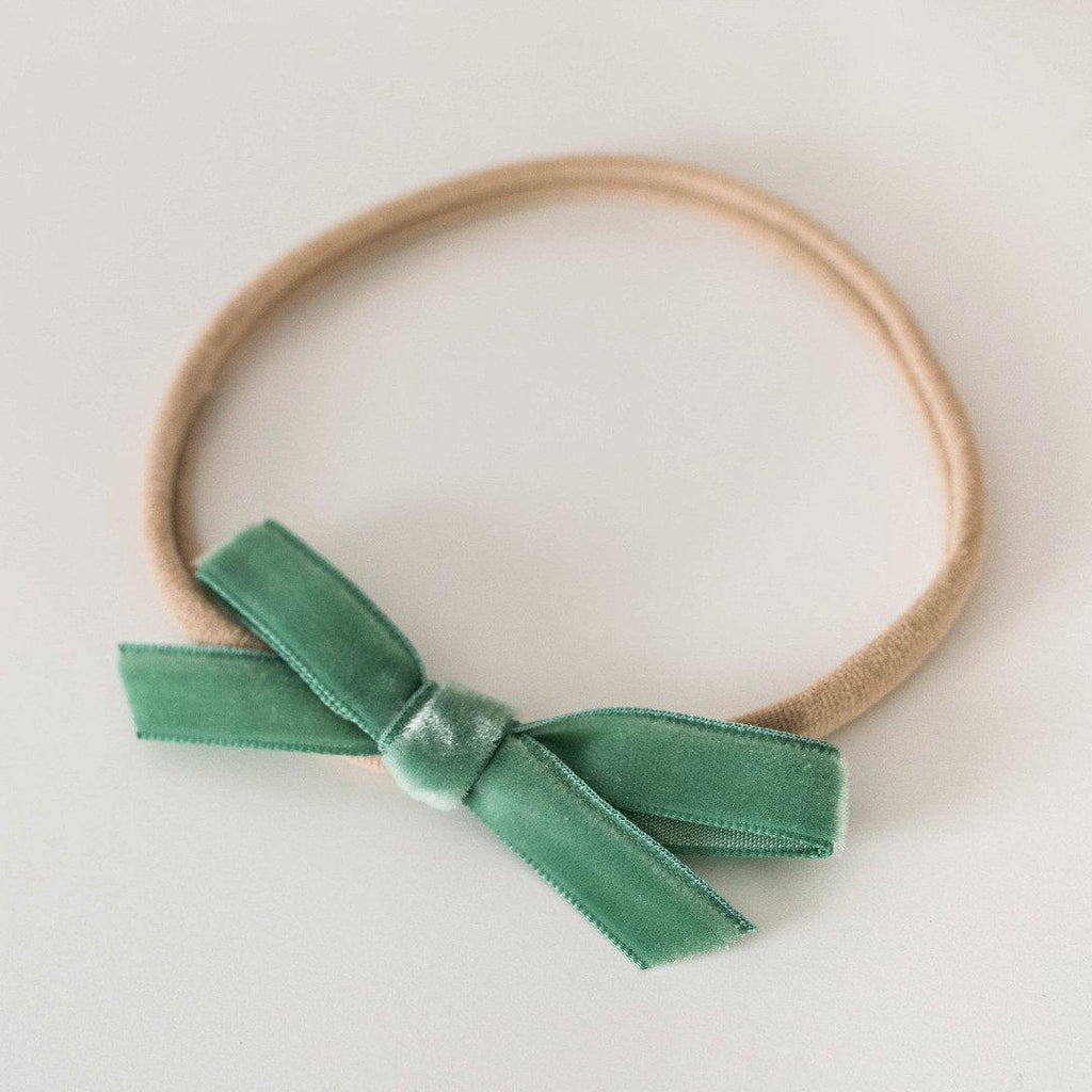 baby headband | velvet bow | olive green - Mumma + Bubba Collective.
