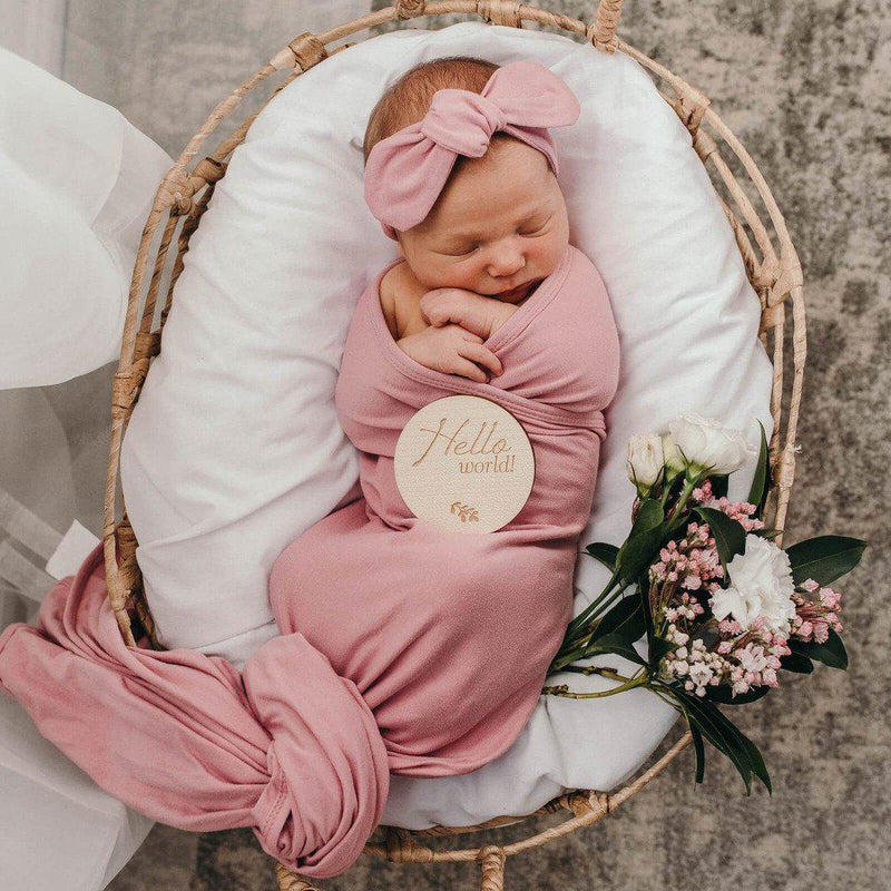 baby jersey wrap + top knot set | jewel pink - MUMMA + BUBBA COLLECTIVE