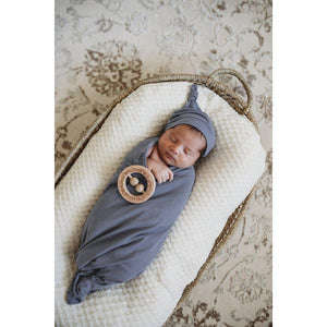 baby jersey wrap + knotted beanie set | indigo - MUMMA + BUBBA COLLECTIVE