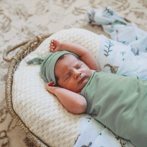 baby jersey wrap + knotted beanie set | sage - MUMMA + BUBBA COLLECTIVE