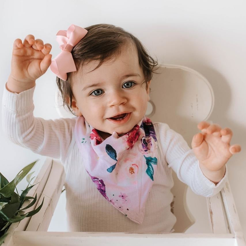 baby bandana dribble bib | floral kiss - MUMMA + BUBBA COLLECTIVE