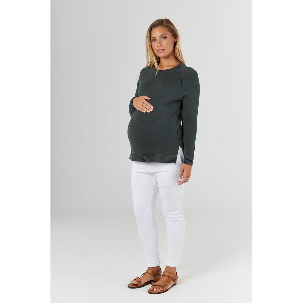 maternity + nursing jumper | bateau crew knit | pine - MUMMA + BUBBA COLLECTIVE