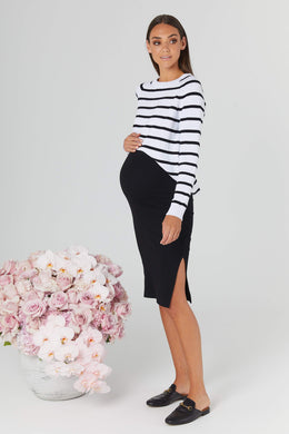 maternity skirt | london ribbed skirt | black - MUMMA + BUBBA COLLECTIVE