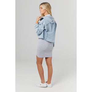 maternity + nursing hoodie | denim hooded crop - MUMMA + BUBBA COLLECTIVE
