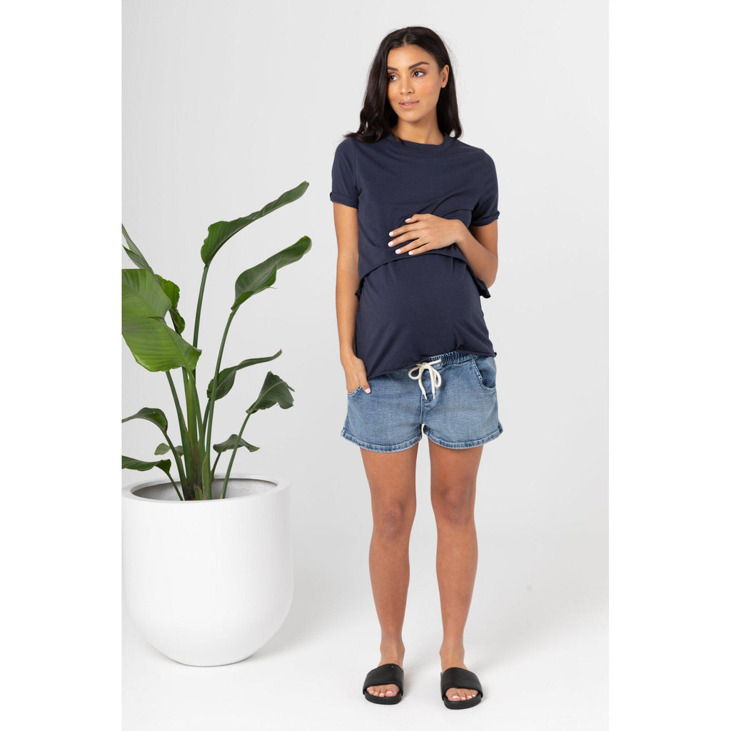 maternity denim shorts | shorties | blue denim - MUMMA + BUBBA COLLECTIVE