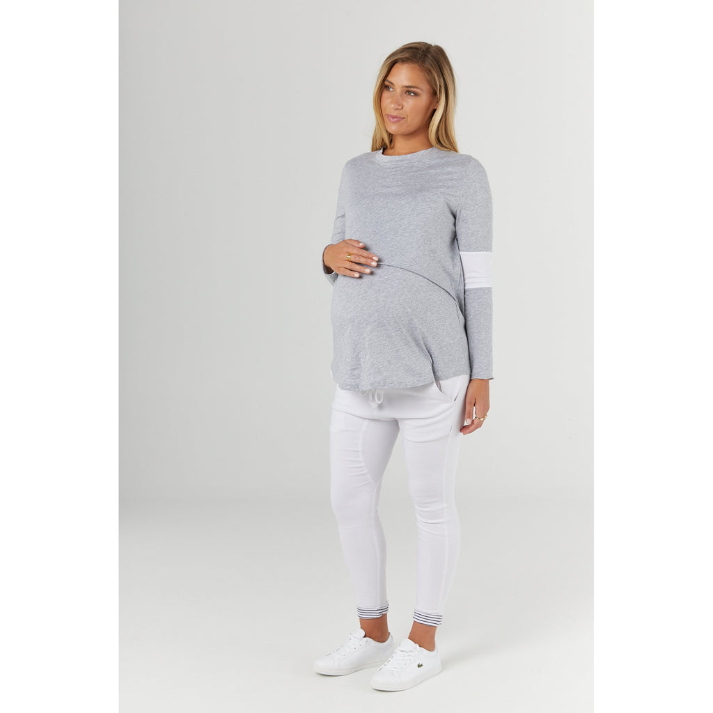 maternity + nursing top | falling for you tee | grey marle - Mumma + Bubba Collective.