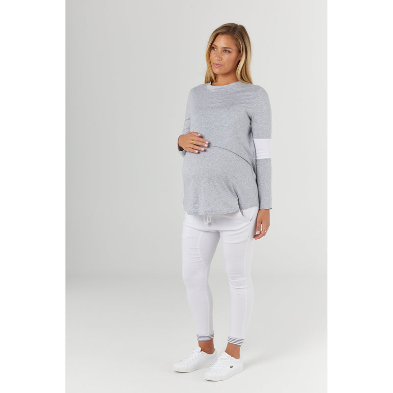 maternity + nursing top | falling for you tee | grey marle - MUMMA + BUBBA COLLECTIVE