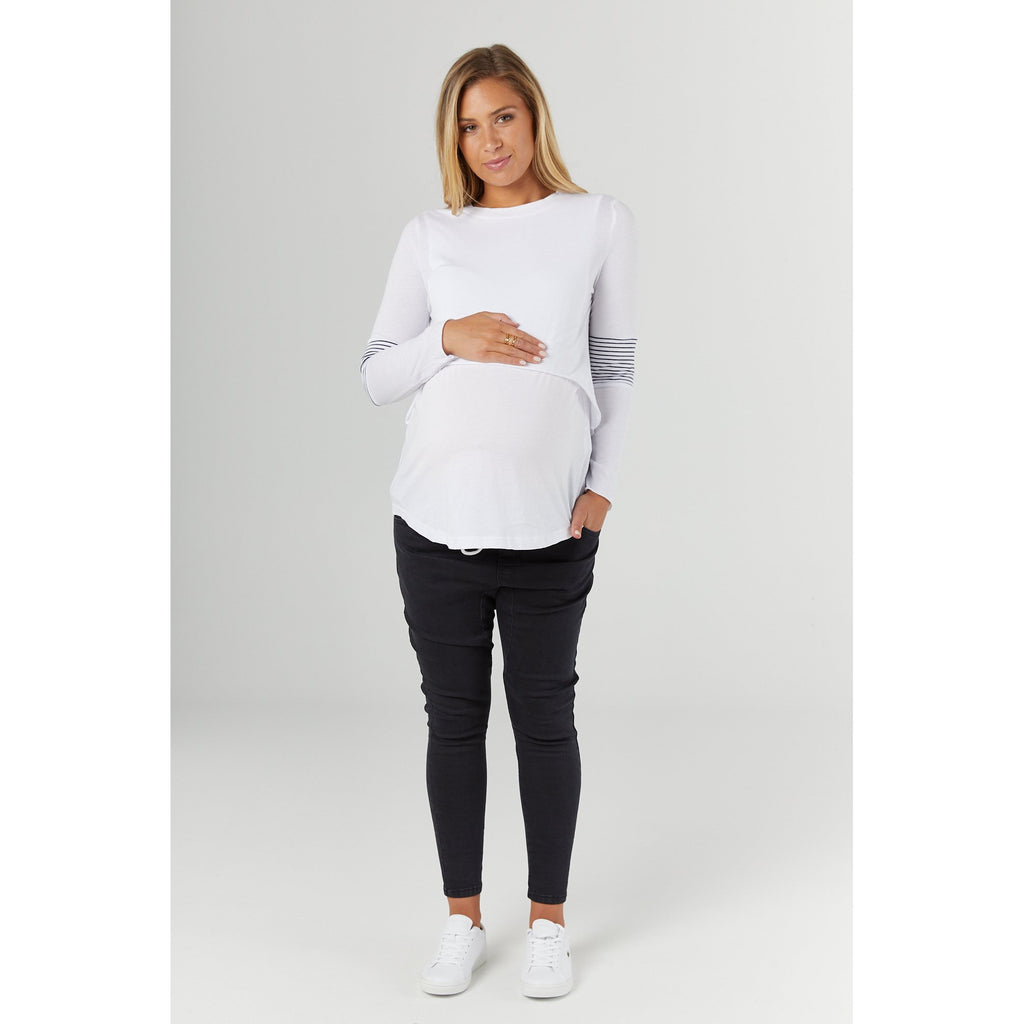 maternity + nursing top | falling for you tee | white - Mumma + Bubba Collective.