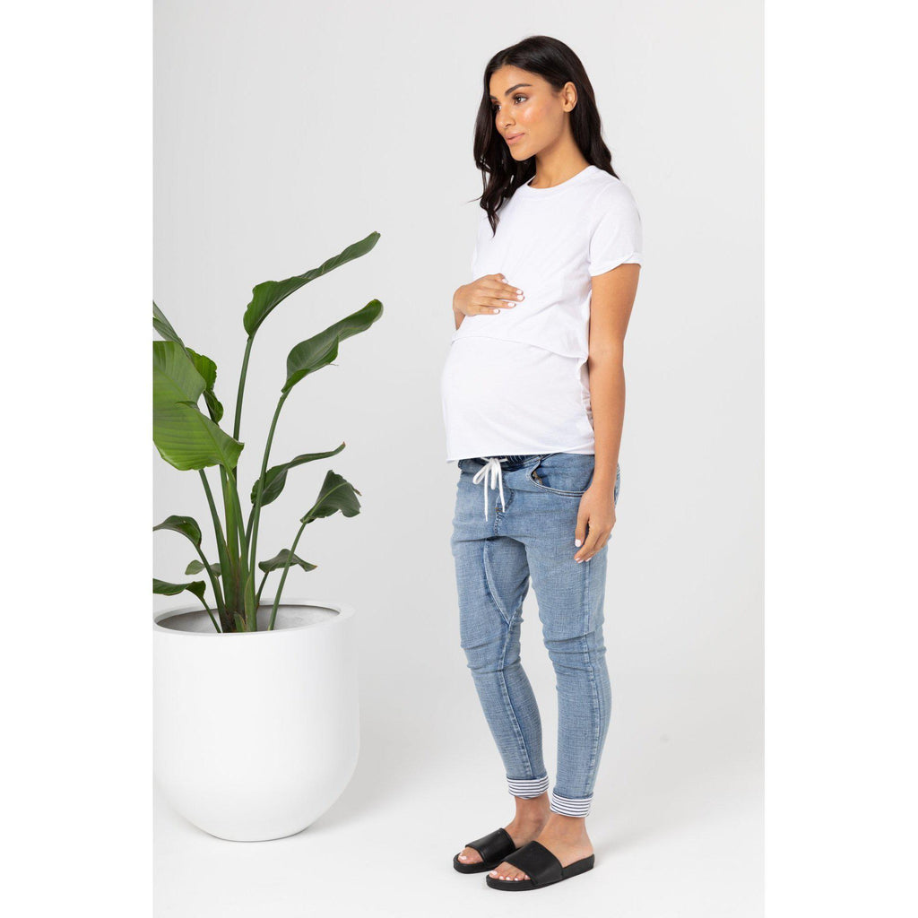 maternity denim pants | gigi denims | blue denim - MUMMA + BUBBA COLLECTIVE
