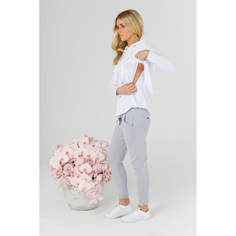 maternity + nursing top | hoodie tee | white - MUMMA + BUBBA COLLECTIVE