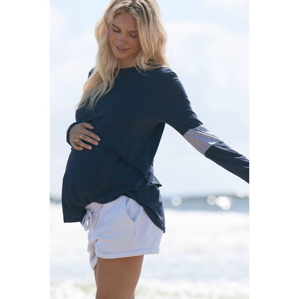 maternity + nursing top | falling for you tee | navy - MUMMA + BUBBA COLLECTIVE