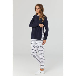 maternity + nursing jumper | bateau crew knit | navy - MUMMA + BUBBA COLLECTIVE