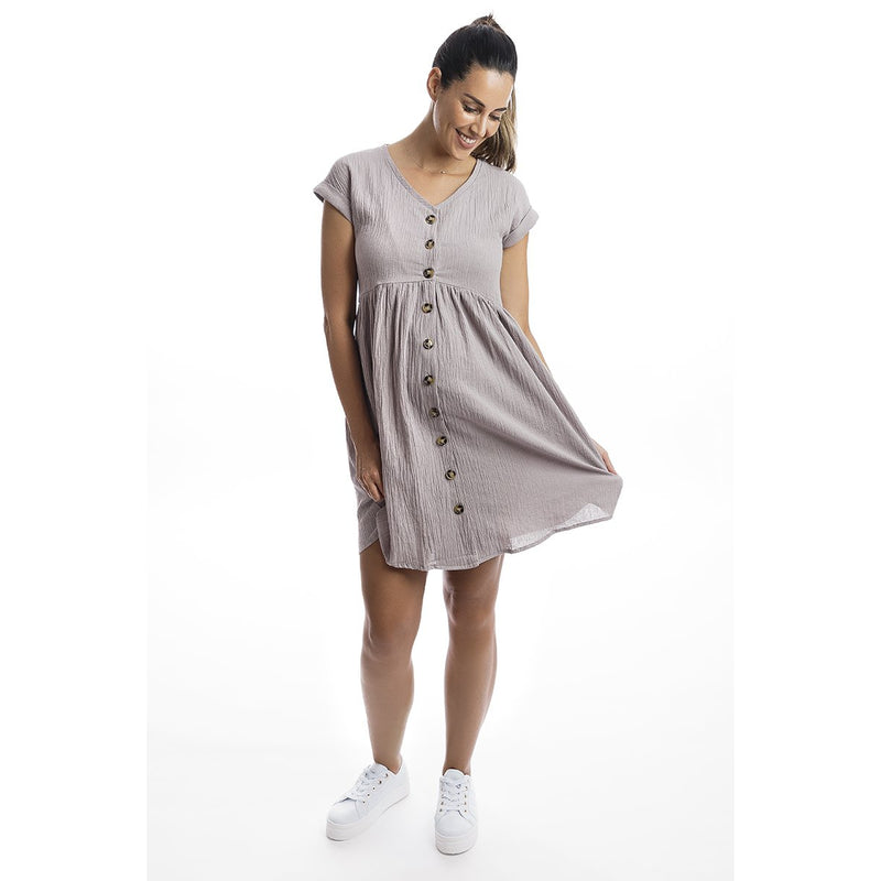 maternity + nursing dress | linen shift dress | soft grey - MUMMA + BUBBA COLLECTIVE