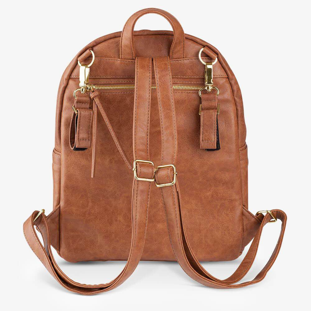 nappy backpack | manhattan backpack | tan with gold hardware - MUMMA + BUBBA COLLECTIVE