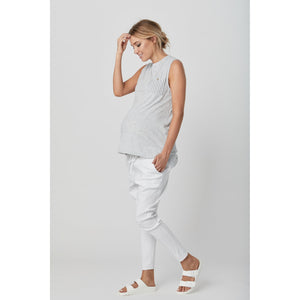 maternity pants | boston twill pant | white - MUMMA + BUBBA COLLECTIVE