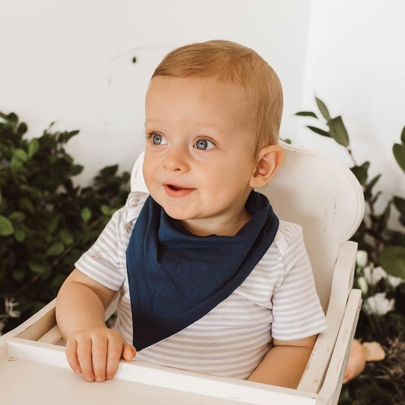 baby bandana dribble bib | navy - MUMMA + BUBBA COLLECTIVE