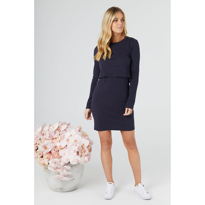 maternity + nursing dress | nadia dress | navy - MUMMA + BUBBA COLLECTIVE