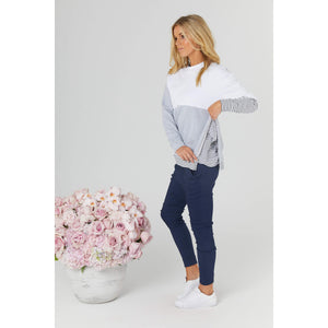 maternity + nursing jumper | nation sweater | white/grey/stripe - MUMMA + BUBBA COLLECTIVE
