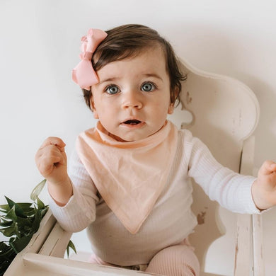 baby dribble bib in peach pearl - MUMMA + BUBBA COLLECTIVE