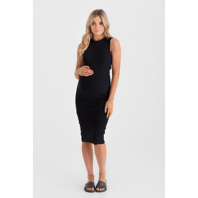 maternity + nursing dress | portugal ribbed midi dress | black - MUMMA + BUBBA COLLECTIVE