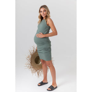 maternity + nursing dress | portugal ribbed midi dress | olive green - MUMMA + BUBBA COLLECTIVE